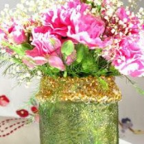 Up-cycled Jar Vase--how to up-cycle a jar into a vase