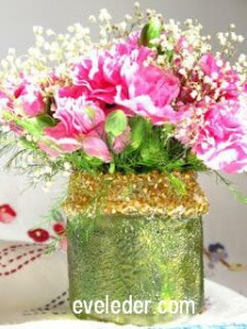 Upcycled Jar Vase--how to up-cycle a jar into a vase