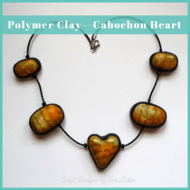 Polymer Clay Cabochon Heart Necklace
