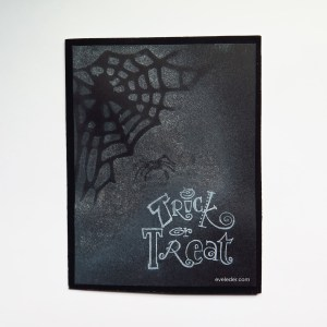 Trick-or-Treat--DIY Free Halloween card or party invite that features a spider and a web.
