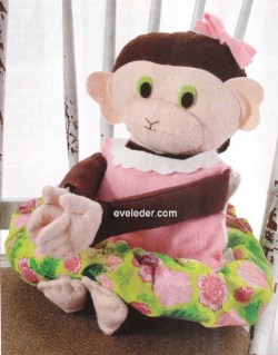 Felt Softie Monkey — This adorable birthday girl monkey is ready to celebrate. She's wearing a hand-painted floral dress with a scalloped collar.