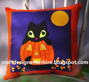 Black Cat Halloween Pillow--the perfect addition to your Halloween decor.