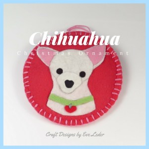 Super Cute Dog Ornaments — inspired by four breeds of small dogs Shih Tzu, Yorkie, Chihuahua and Westie. They are handmade from felt.