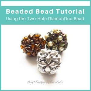 Two-hole DiamonDuo Beaded Bead — Free Beaded Bead Tutorial featuring the DiamonDuo Bead.