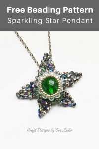 Beaded Star --FREE beading pattern. You can use it to make a pendant or an ornament.You will need seed beads, fire polished beads, and glass pearls.