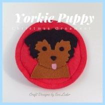 Yorkie Puppy--Felt Christmas Ornament-- get design insight so you can make your own.