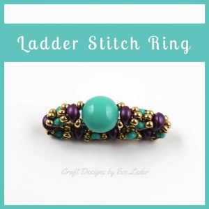 Two-Hole Candy Bead Ladder Stitch Ring--FREE beading tutorial.--This ring looks great on its own or stacked with the previous ladder ring post.