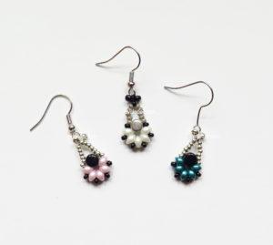 Two Hole Es-O Mini Bead Dangling Earrings—Free Beading Pattern