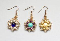Two-hole Beads Circular Brick Stitch Earrings--Free tutorial