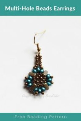 Multi-Hole Beads Earrings Pattern--Free tutorial featuring two-hole beads and three hole beads.