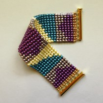 Two-Hole Bead Cuff Bracelet--Free beading tutorial on how to create two-hole bead herringbone bracelet.
