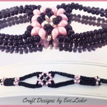 Two-Hole Bead Romance Bracelet--FREE two-hole bead bracelet pattern worked in the herringbone stitch.