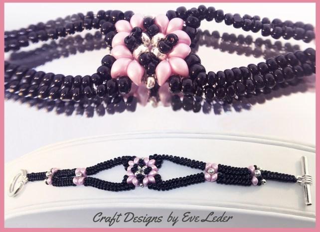 Two-Hole Bead Romance Bracelet--FREE two-hole es-o mini bead bracelet pattern worked in the herringbone stitch.