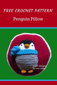 Penguin Pillow--Free crochet pattern for an adorable penguin pillow. Make one as a gift or for yourself.