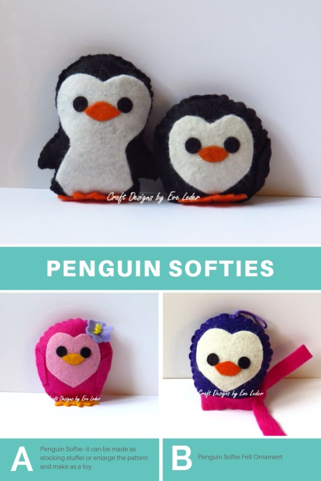 FREE Penguin Softie Patterns—Free patterns for crafting for a cause. A project you can do with kids for kids.
