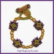 Two Hole Bead Purple and Gold Bracelet Pattern--FREE beaded bracelet pattern.