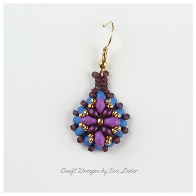 Purple Two Hole Bead Earring--FREE beaded earring pattern_