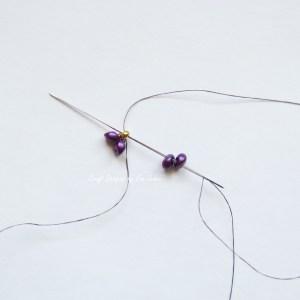 Purple two hole bead earring--Step 2