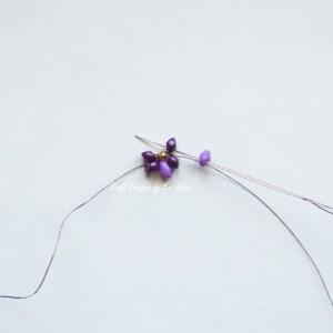 Purple two hole bead earring--Step 3