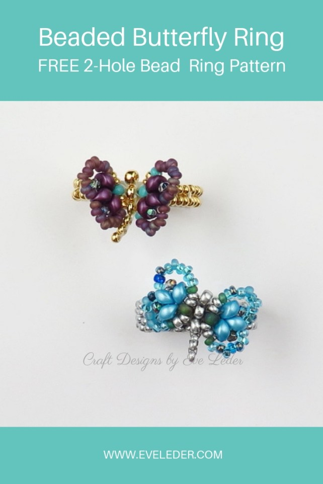 Butterfly Ring — FREE beading tutorial on how to make a beaded butterfly ring.