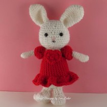 Valentine Bunny -- FREE crochet pattern for adorable bunny in a red dress.