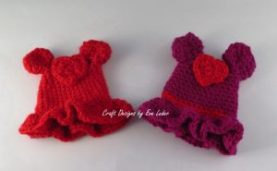 Valentine Bunny -- FREE crochet pattern for adorable bunny in a red or pink dress.