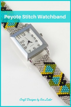Peyote Watchband Free Beading Pattern—Learn how to make a beaded watchband using the peyote stitch. The seed bead colors are: turquoise, silver, black, green, and yellow.