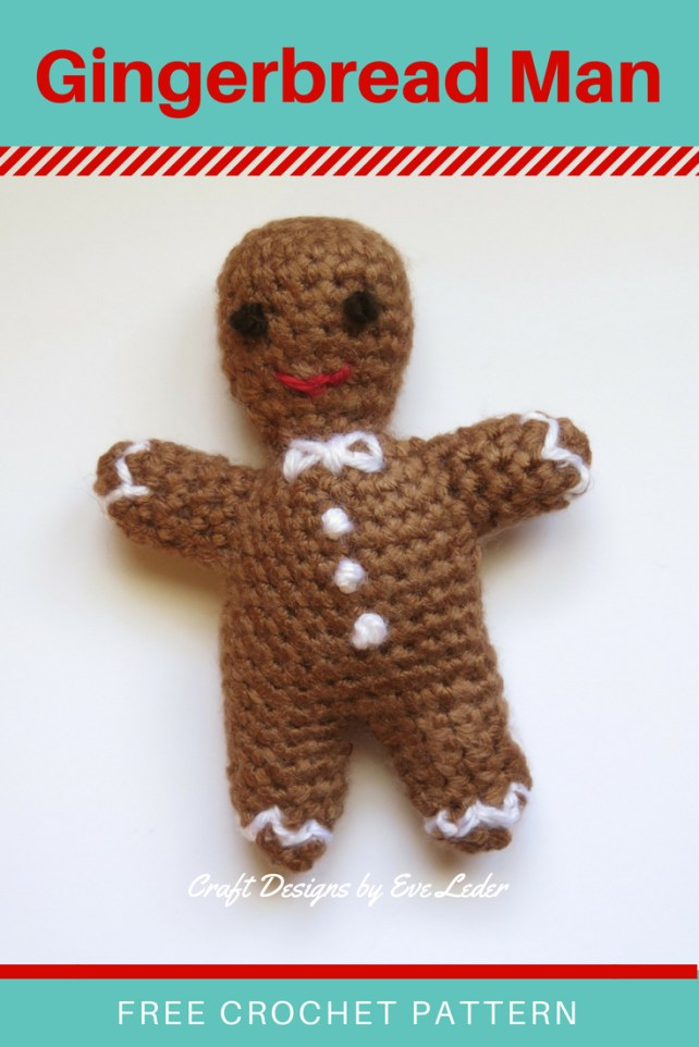 Gingerbread Man — FREE crochet pattern. Finish it as an ornament or garland. This sweet gingerbread man is a charming way to add a traditional element to your holiday decorations.