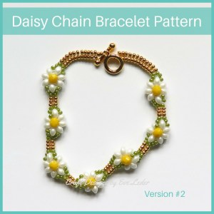 Daisy Chain Bracelet — Free beading pattern. Learn how to make this charming beaded daisy chain bracelet. Wear it alone or as part of a group.