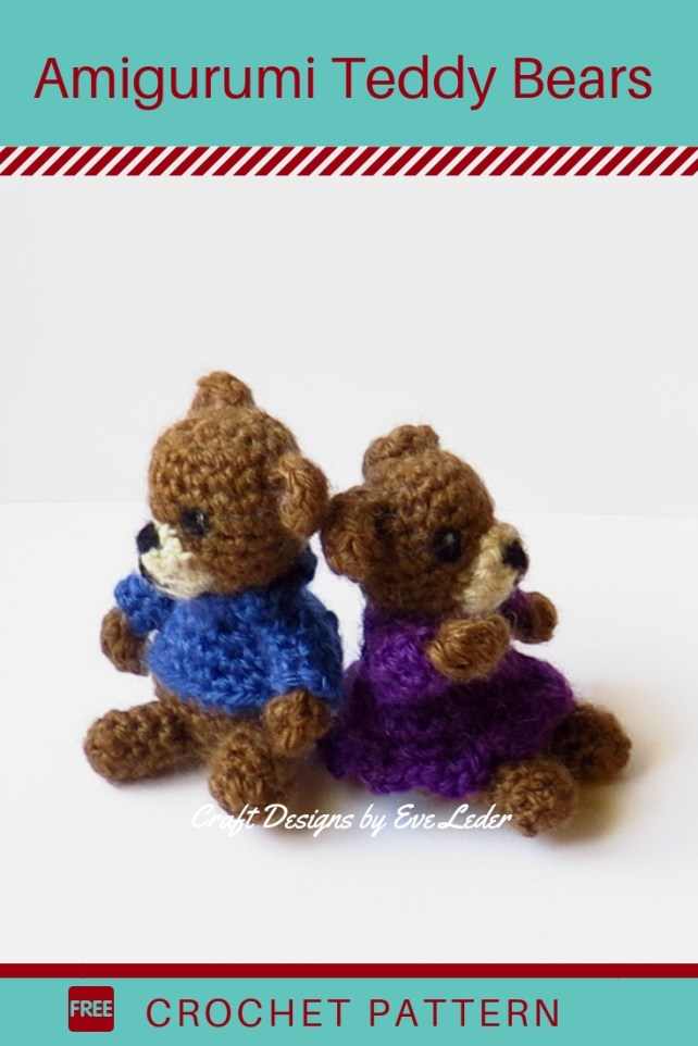 Free Crochet Teddy Bear Pattern —  Make these adorable amigurumi style teddy bears. You can give them as a toy or as an ornament.