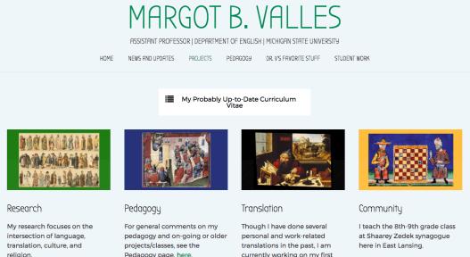 Screenshot from Margot B. Valles' Website