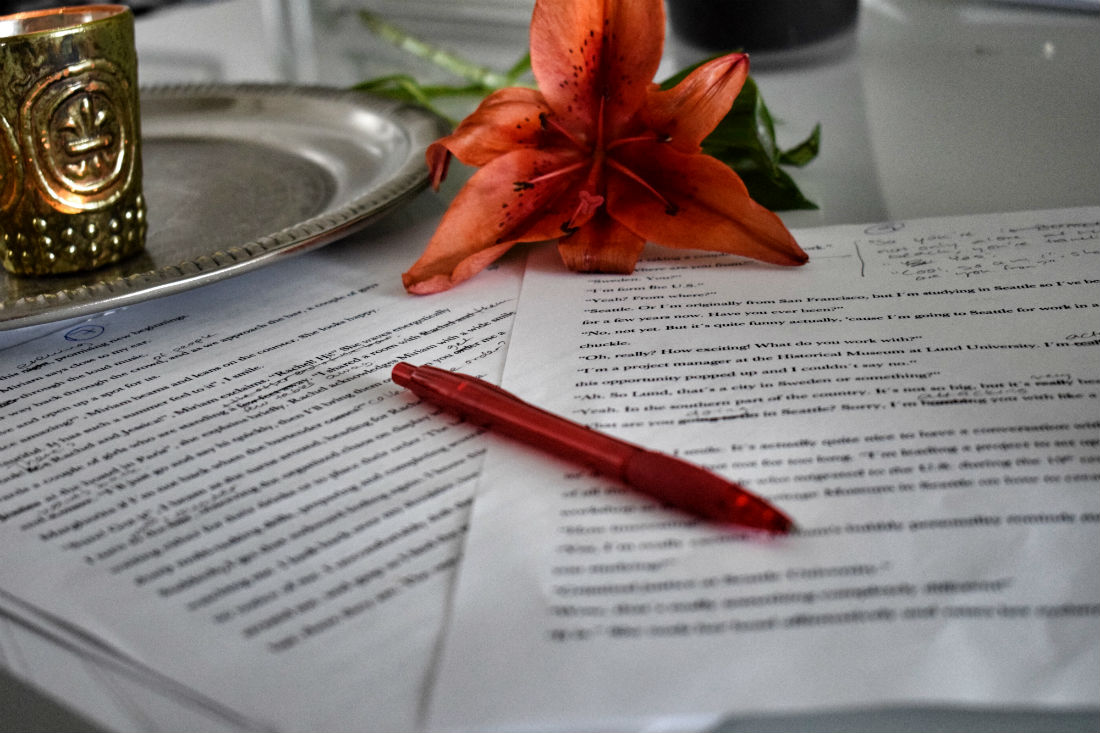Papers and flower