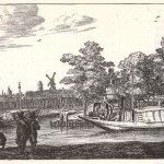 a barge type boat being drawn by a horse along side a river