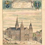 Colour drawing of cathedral with 3 large spires.