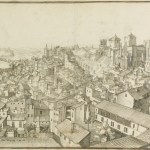 Cross hatched drawing of sprawling town with bridged river in distance.
