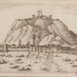 Line drawing of village with citadel on mount in background.