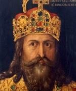 Oil painting of bearded man wearing crown