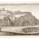 Etching of ruined castle on top of cliff with sea below