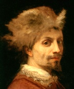 Detail from oil paiting of bearded man wearing fur hat.