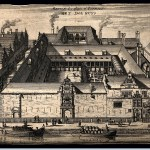 Etching showing high walled building with central courtyard