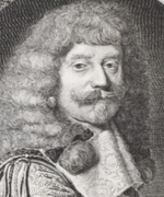 Black and white etching of man with long hair or wig.