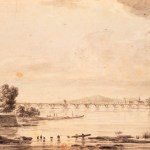 Faded print of arched bridge across river to town.