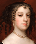 Extract from oil painting showing beautiful woman wearing pearls.