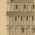 Line drawing of cathedral showing pillared arcade.