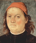 Oil portrait of man wearing red man with glum expression.