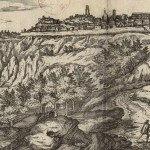 Etching of town in distance with 2 people walking towards over countryside.