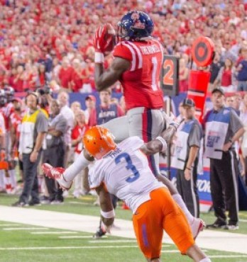 Ole Miss WR Laquon Treadwell (1) hauls in one of his 7 receptions. He tallied 105 yards on the night.