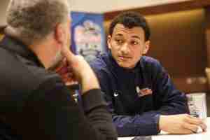 Evan Engram answers questions at the Peach Bowl Press conference Sunday. (Photo credit: Chick-fil-A Peach Bowl)