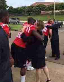 Ole Miss football players and coaches lined up to offer condolences after Chance's funeral at the Tad Pad. (Photo courtesy of Evelyn Van Pelt.)