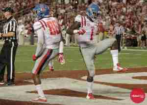 Cody Core and Laquon Treadwell celebrate Core's touchdown against Alabama (Photo credit: Bentley Breland, The Rebel Walk)
